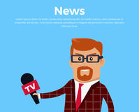 Breaking News Reporter Vector Illustration. Royalty Free Stock Photo