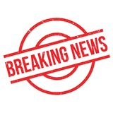 Breaking News rubber stamp. Grunge design with dust scratches. Effects can be easily removed for a clean, crisp look. Color is easily changed stock illustration