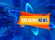 Breaking news screen. Reaking News Live sting on blue background with planet sphere Royalty Free Stock Images