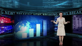 Breaking news showing statistics stock video