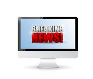 Breaking news sign on a computer. illustration. Design over white Royalty Free Stock Photo