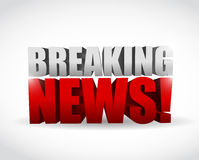 Breaking news sign. illustration design. Over white Stock Image
