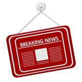 Breaking News icon red hanging sign isolated on white. Breaking News sign, A red hanging sign with text Breaking News and newspaper icon isolated over white Royalty Free Stock Image