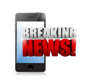 Breaking news sign on a smartphone. illustration. Design over white Royalty Free Stock Photo
