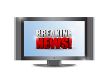 Breaking news sign on a tv. illustration design. Over white Stock Photos
