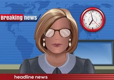 Breaking news. Silhouette of a woman with glasses royalty free illustration