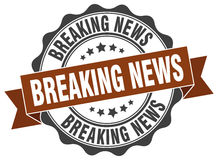 Breaking news stamp Royalty Free Stock Images