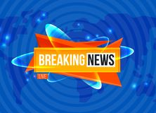 Breaking news sting on blue background. Breaking News Live screen on blue background with worldwide map Stock Photos