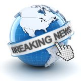 Breaking news symbol, 3d render. White background Royalty Free Stock Images