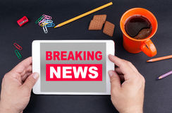 Breaking News On tablet device Stock Photography