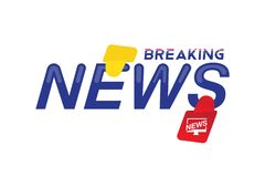 Breaking News template title with label on white background for screen TV channel. Flat vector illustration EPS10.  vector illustration