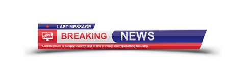 Breaking News template title with shadow on white background for screen TV channel. Flat vector illustration EPS10.  royalty free illustration