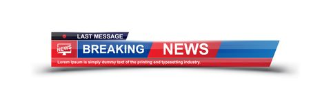 Breaking News template title with shadow on white background for screen TV channel. Flat vector illustration EPS10.  stock illustration