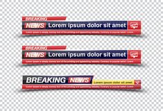 Breaking News template title on transparent backdrop for screen TV channel. Flat illustration EPS10.  vector illustration