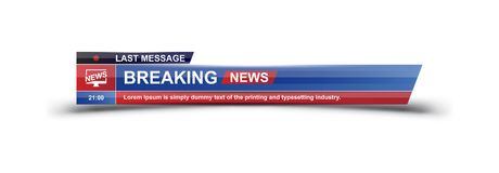 Breaking News template title on white background for screen TV channel. Flat illustration EPS10.  vector illustration