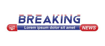 Breaking News template title on white background for screen TV channel. Flat vector illustration EPS10. Breaking News template title with shadow on white stock illustration