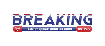 Breaking News template title on white background for screen TV channel. Flat vector illustration EPS10. Breaking News template title with shadow on white royalty free illustration