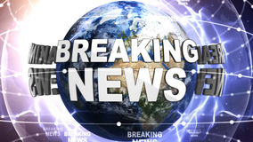 BREAKING NEWS Text Around the World, Computer Graphics Royalty Free Stock Photo