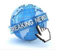 Breaking news text with world and hand cursor Stock Photos