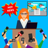 Breaking news theme. Trendy flat style. Royalty Free Stock Image