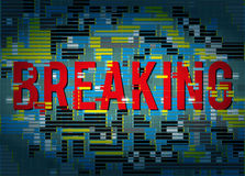 Breaking news title with glitch abstract background and distortion effect. Royalty Free Stock Photography