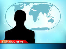 Breaking news tv. Background with man reporter Royalty Free Stock Images