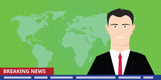 Breaking news tv anchor studio man reporter announcer presenter smile. Vector stock illustration