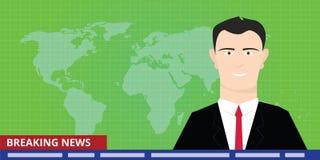 Breaking news tv anchor studio man reporter announcer presenter smile Royalty Free Stock Image