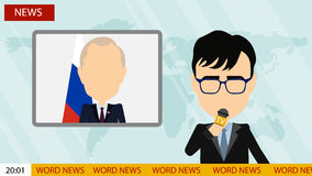 Breaking news on tv. Russia October. 10, 2016. Breaking news on tv. Male news reporter with microphone sitting at the table. Latest information. Tv screen with Royalty Free Stock Photos