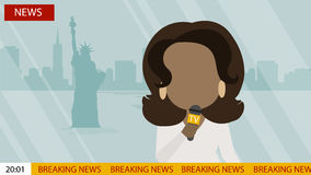 Breaking news on tv. Russia October. 03, 2016. Breaking news on Tv screen with headline. Oprah Winfrey. Latest news On air Royalty Free Stock Image