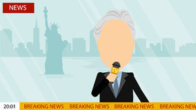 Breaking news on tv. Russia October. 17, 2016. World news on tv. Male news reporter with microphone sitting at the table. Latest information. Tv screen with Stock Photography