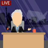 Breaking news on tv. Russia October.24,2016. World news on tv. Male news reporter with microphone sitting at the table. Latest information. Tv screen with Stock Photo