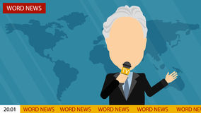 Breaking news on tv. Russia October.24,2016. World news on tv. Male news reporter with microphone sitting at the table. Latest information. Tv screen with Royalty Free Stock Photo