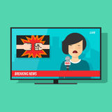 Breaking news on tv screen, television program with woman reporter Stock Photography