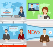 Breaking News TV, Speakers, Reporters, Announcers, Anchormans, Commentators Royalty Free Stock Images