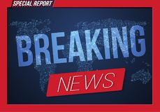 Breaking News Vector Banner on Bright Earth Glowing Globe Background. TV News Opener. Broadcast Design Layout Royalty Free Stock Photo