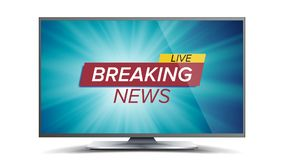Breaking News Vector. Blue TV Screen. World Global News Concept. Isolated Illustration Stock Images