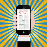 Breaking News. Vector illustration of hand holding mobile smart phone with breaking news article on the screen. With scattered rays background Royalty Free Stock Photography