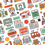 Breaking news vector illustration mass media icons with telecommunications seamless pattern background stock illustration