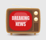 Breaking News On Vintage TV Royalty Free Stock Photography