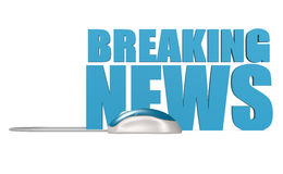 Breaking news word isolated. Blue computer mouse with breaking news word isolated, 3D rendering Stock Images