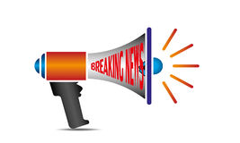 Breaking News Words on Loudspeaker Vector Royalty Free Stock Photo