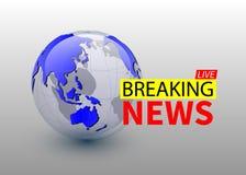 Breaking news, world news backgorund with planet, TV news design. Vector vector illustration