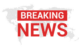 Breaking news. World news with map backgorund. Breaking news modern concept. TV news design Royalty Free Stock Photo