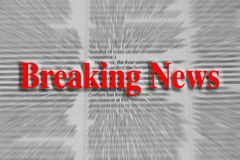 Breaking news written in red with a newspaper article blurred stock images