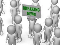 Breaking newsbrädeteckenet visar nyheterna Arkivfoto