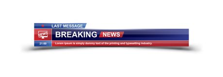Breaking newsmalltitel på vit bakgrund för skärmTV-kanal Plan illustration eps10 royaltyfri illustrationer