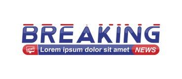 Breaking newsmalltitel på vit bakgrund för skärmTV-kanal Plan vektorillustration EPS10 royaltyfri illustrationer