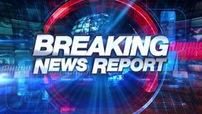 Breaking newsrapport - grafisk titel för TV-sändninganimering royaltyfri illustrationer