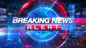 Breaking newsvarning - grafisk titel för TV-sändningTVanimering arkivfilmer